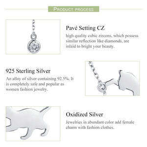 100% Sterling Silver Playful Cat Chains Necklace