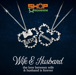 Wife & Husband Couple Sterling Silver Necklace Handmade