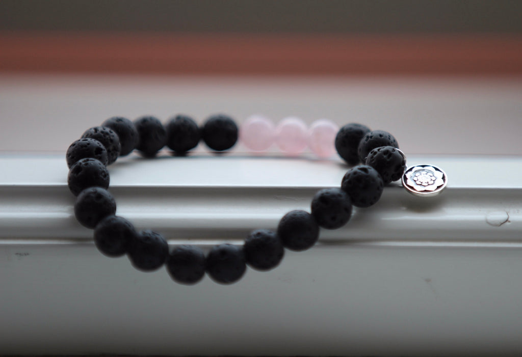 I am grateful bracelet in Rose quartz & Lava with silver Lotus flower charm