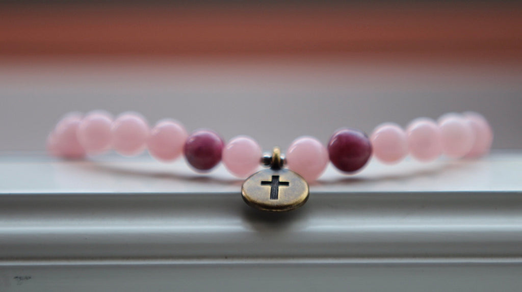 I am loved bracelet in Rose quartz & Tourmaline with brass crucifix charm