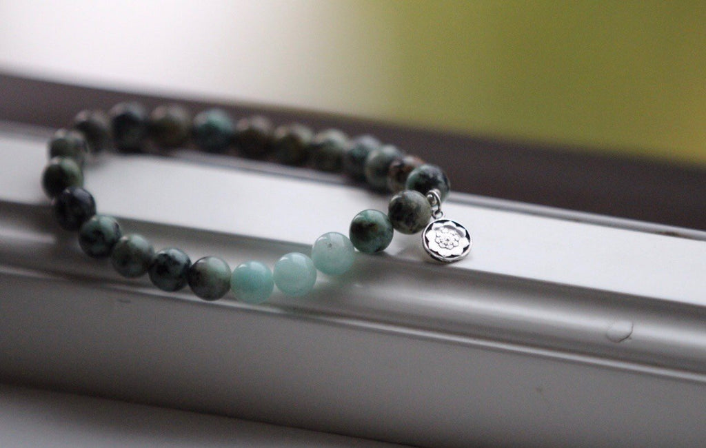 MY HEALTH Mala bracelet in African Turquoise & Amazonite with silver charm Lotusmandala