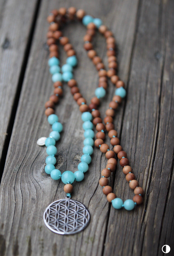 GAYATRI MALA in Amazonite, Sandalwood & silver Flower of Life pendant