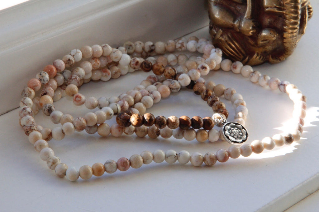 Bracelet  Necklace Anklet wrap in Howlite and Picture Jasper with silver charm Lotus Mandala