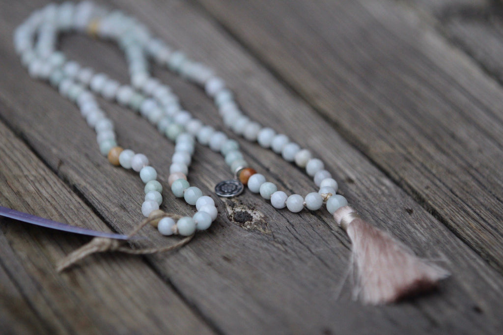Mala Petite LIFE SALUTATIONS  in Jade with beige tassel and Lotus Mandala/Lotus Flower