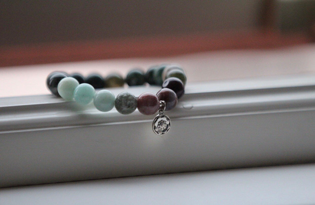 Mala bracelet MY PURPOSE in Mossagate & Amazonite with silver charm Lotus mandala/Lotus Flower