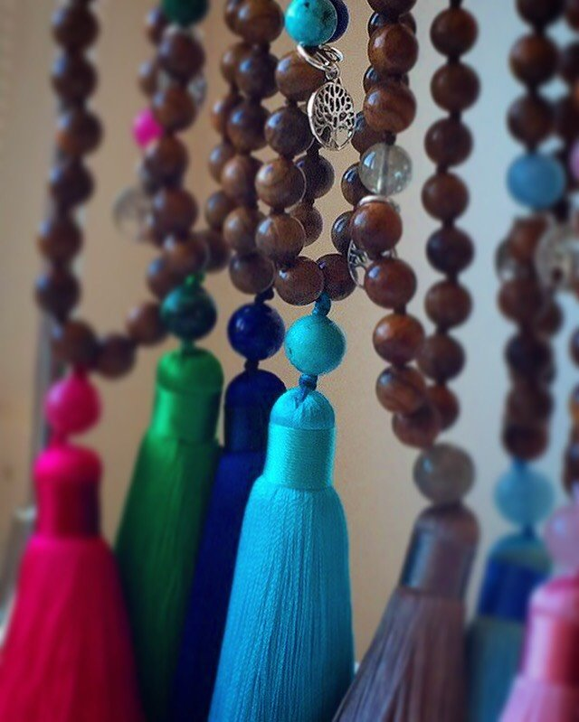 I STAND TALL AND SPEAK MY TRUTH Mala - Ahimsa Wood and Turquonite Mala