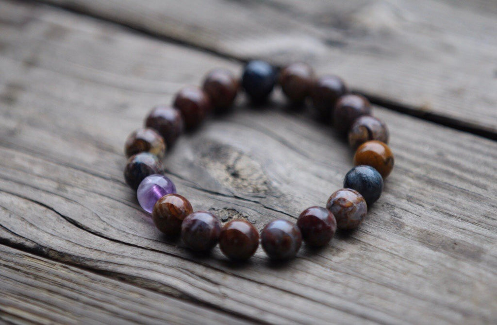 Mala Bracelet in Pietersite and Amethyst or Aquamarine