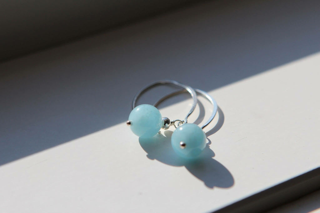 Silver earrings in Aquamarine