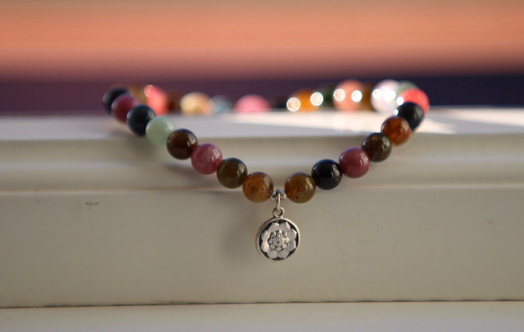 I AM Bracelet in Tourmaline and silver Lotus Mandala