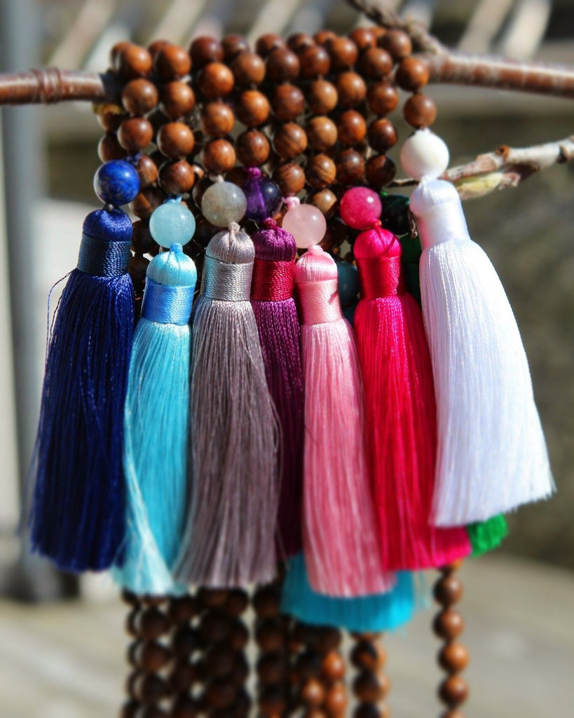 I AM BEAUTIFUL Mala - Ahimsa Wood and Hot pink coloured Quartz and silver charm Tree of life
