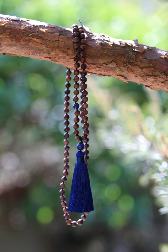 MY TRUTH Mala - Ahimsa Wood and Lapis Lazuli