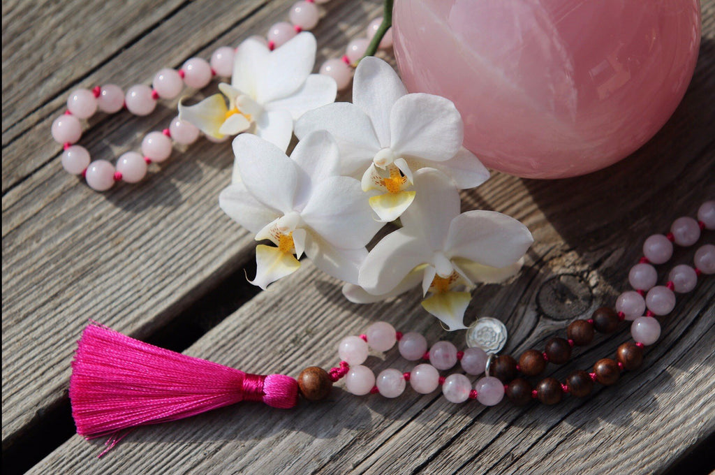 I AM WHOLE Mala petite in Rose Quartz, dark rosewood and silver charm Lotus Mandala