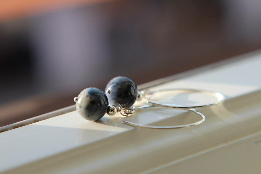 Silver earrings in Sodalite