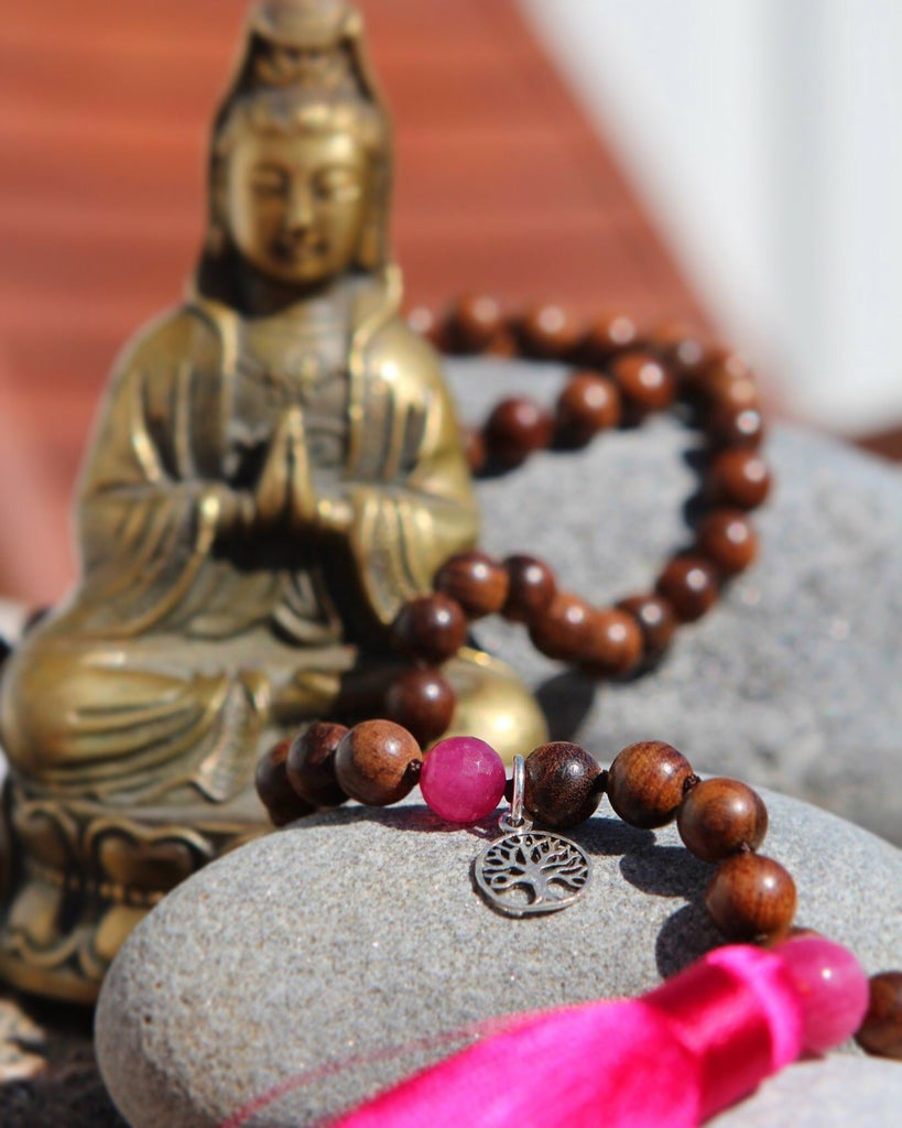 I AM BEAUTIFUL Mala - Ahimsa Wood and  Hot pink coloured Quartz silver Tree of life