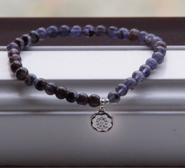 THIRD EYE Mala bracelet in beautiful Lolite with silvercharm Lotusmandala