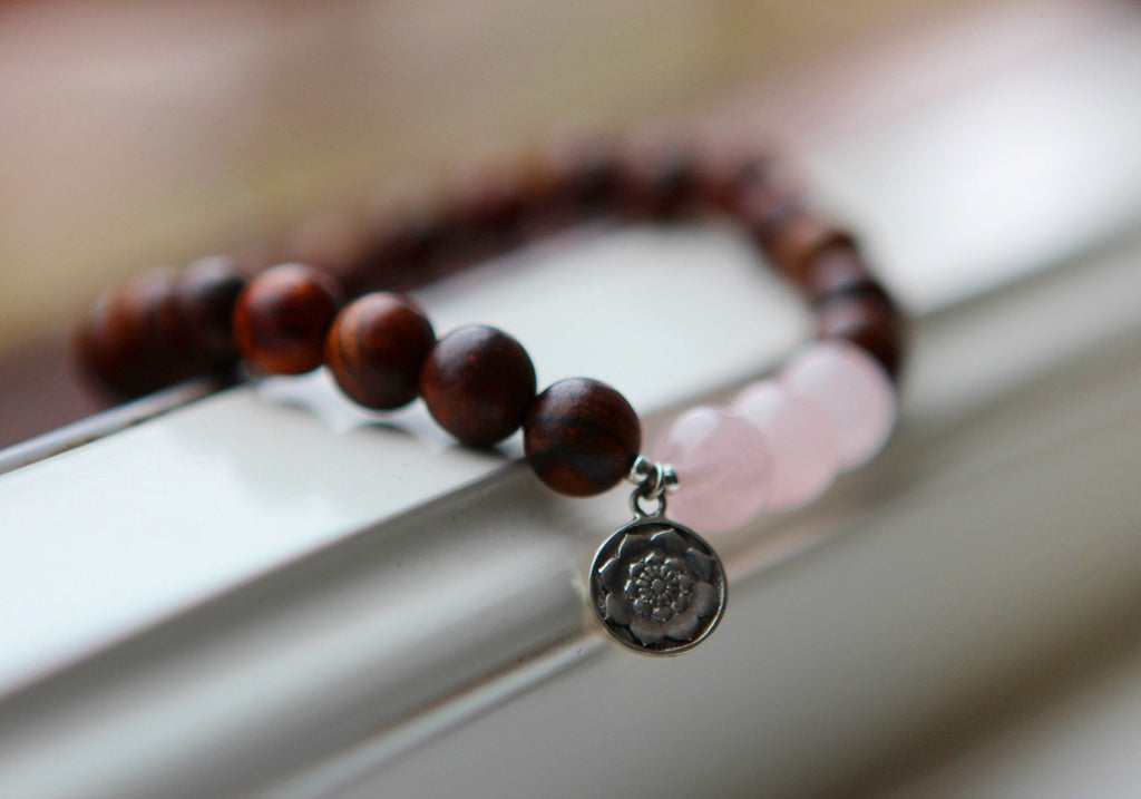 LOVE Bracelet in dark Wood and Rose Quartz with silver charm Lotus Mandala
