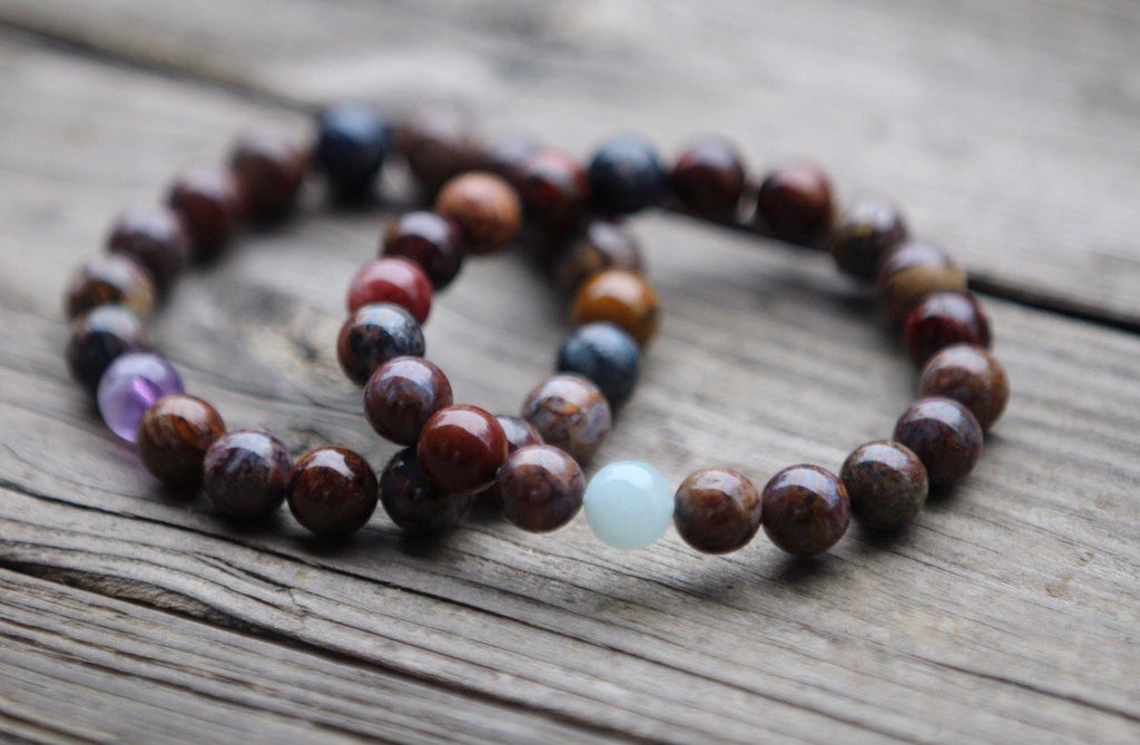 Mens' Mala Bracelet in Pietersite and Amethyst or Aquamarine