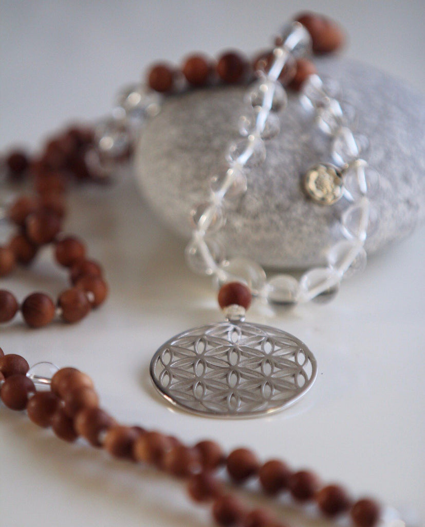 GAYATRI MALA necklace in Sandelwood & Quartz and silver Flower of life and silver Lotus Mandala