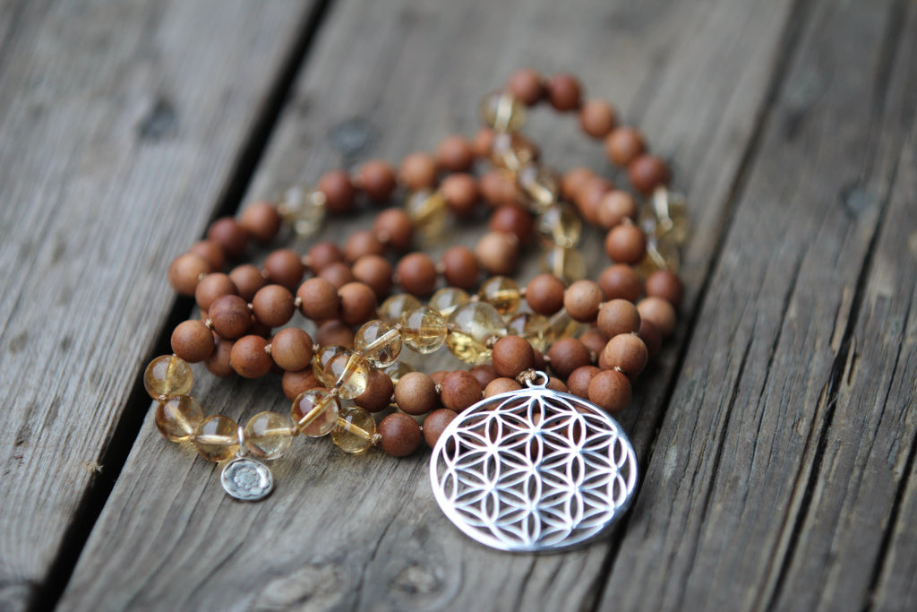 GAYATRI Mala in Sandalwood and Citrine with silver charm Flower of life and Lotus Mandala