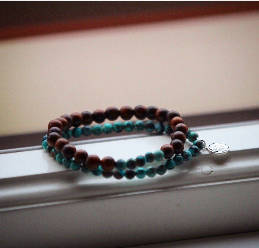 PROTECTION Mala bracelet set in genuine Turquoise & Sandalwood and silver Lotus mandala charm