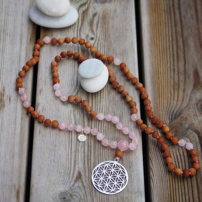 GAYATRI Mala in Sandalwood and Rose Quartz with silver charm Flower of life and Lotus Mandala
