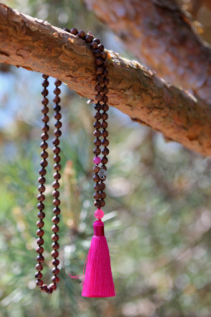 I AM BEAUTIFUL Mala - Ahimsa Wood and  Hot pink coloured Quartz