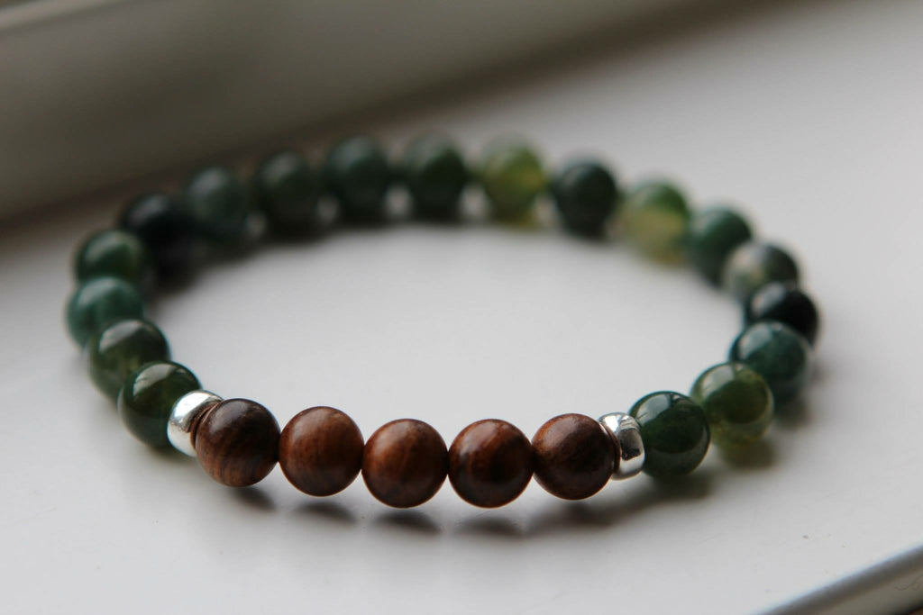 HEART Mens bracelet Green Agate & Wood with silver details