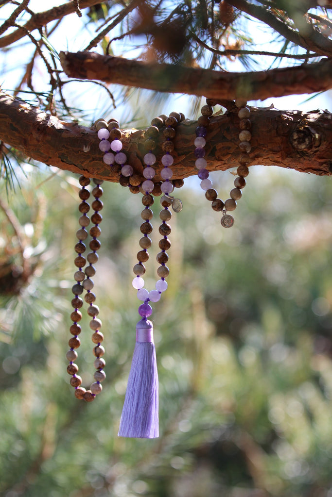 EARTH INTUITION - Matching mala in Jasper, Amethyst & Lavender Amethyst with silver charm Lotus mandala