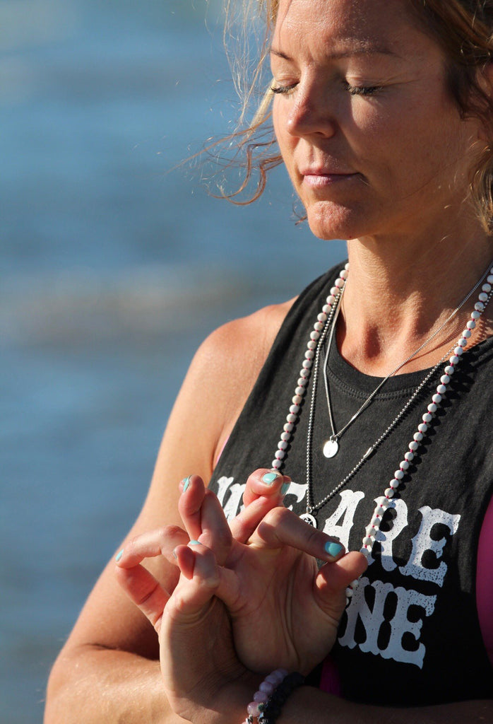 IN THE NOW Mala petite in howlite, hot pink silk tassel and silver charm Lotus Mandala