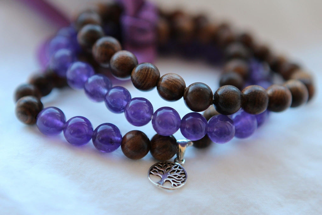 INTUITION Bracelet in dark Wood and Amethyst with silver charm Tree of life Mix & Match