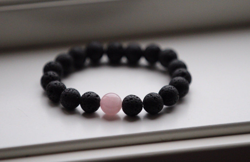 GAIA Mala bracelet in Lava & Rose quartz from Amandas Malas