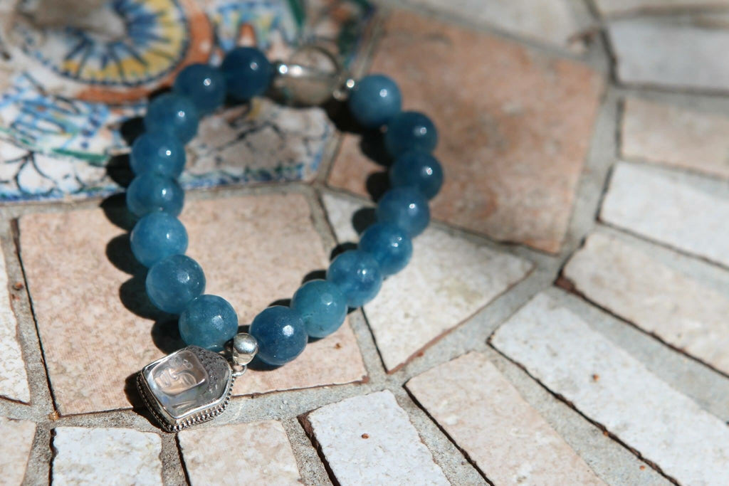 Premium Bracelet in Blue coloured Quartz with feminine Buddha (Quan Yin) charm
