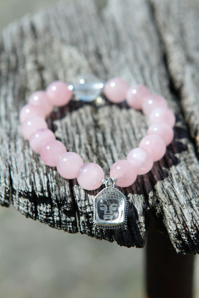 Premium Bracelet in Rose Quartz and Quan Yin charm (feminine Buddha)
