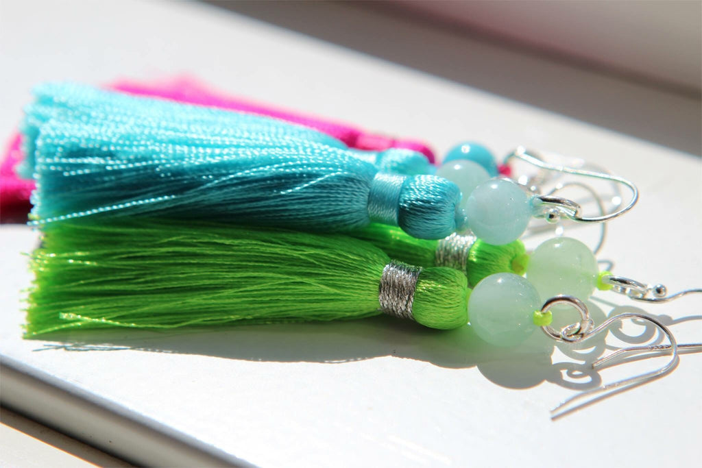 Silver earrings Aquamarine and light blue silk tassel