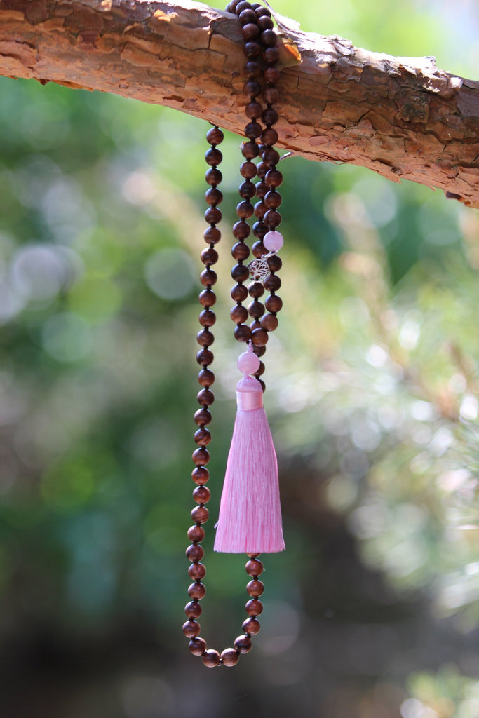 I CHOOSE A H I M S A Mala Ahimsa Wood and Rose Quartz Mala