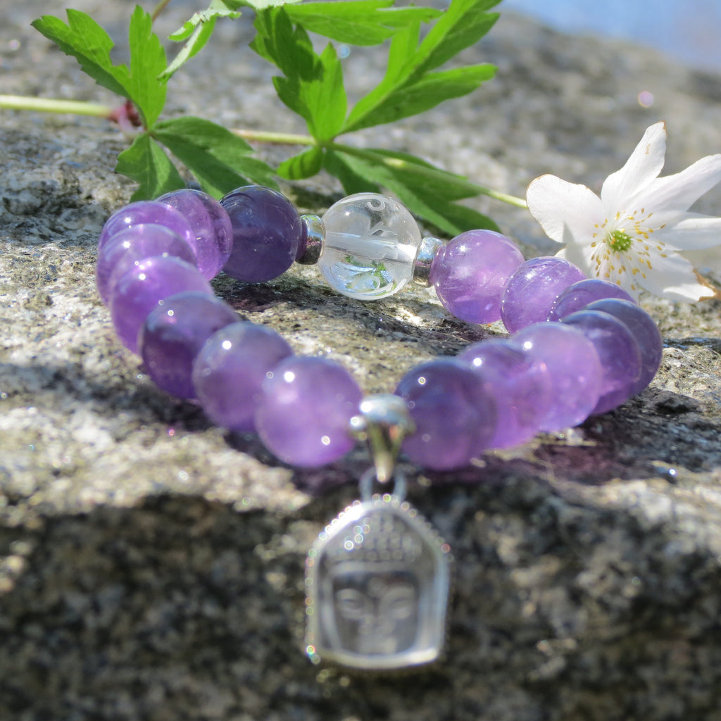 Premium Bracelet in beautiful Amethyst with Quan Yin charm