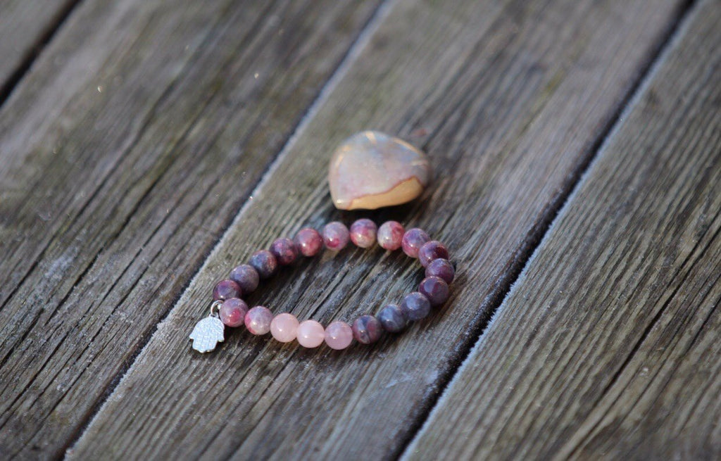 Hamsa protective Mala bracelet in Chinese Tourmaline and Rose quartz with silver charm Hamsa hand