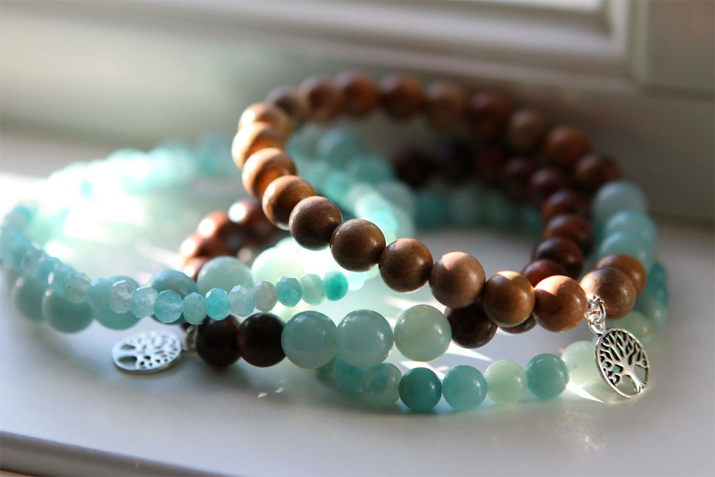 HOPE Bracelet in dark wood and Amazonite with silver Tree of life