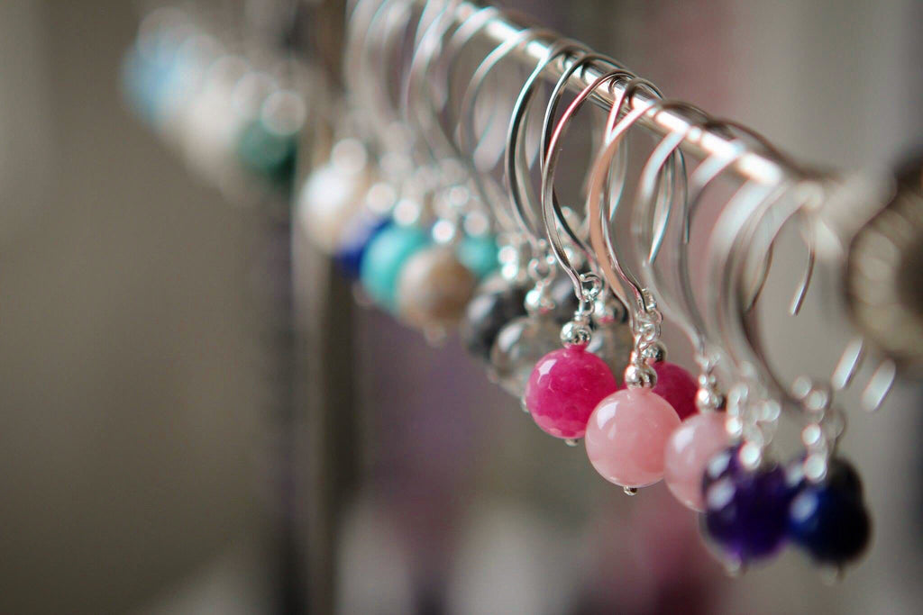Silver earrings with hot pink coloured Quartz