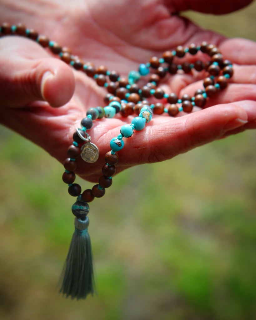 SELF LOVE & HEALTH Mala Petite in genuine Turquoise & Wood, light green silk tassel