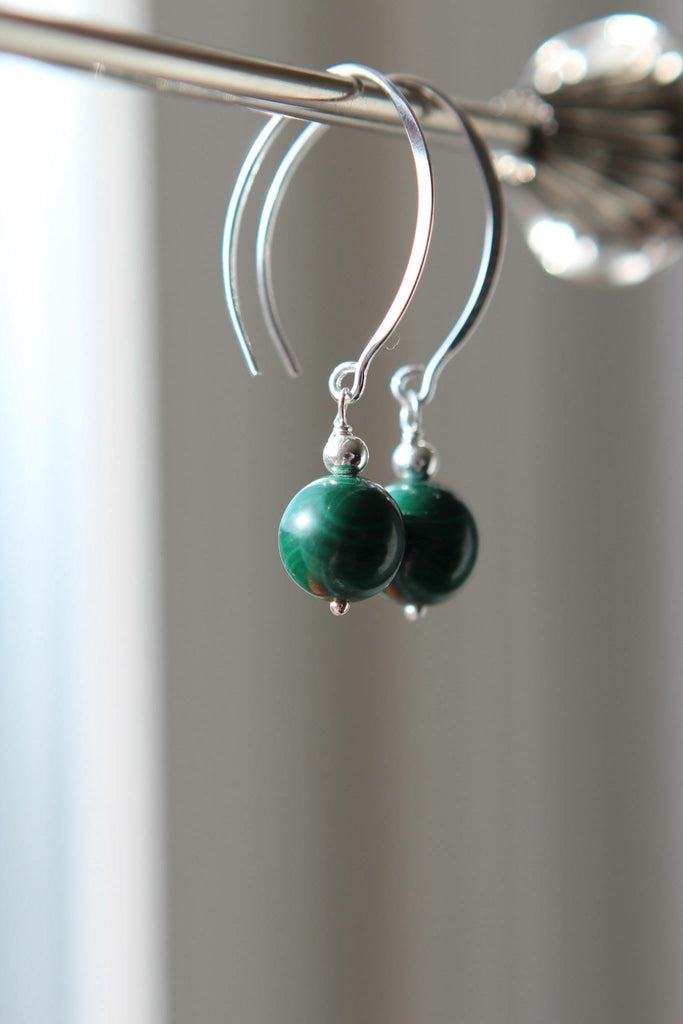 Silver earrings with Malachite approximately 7 mm