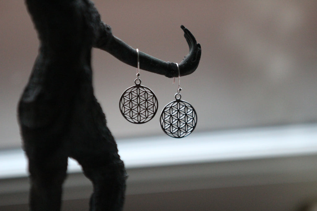 FLOWER OF LIFE Silver earrings