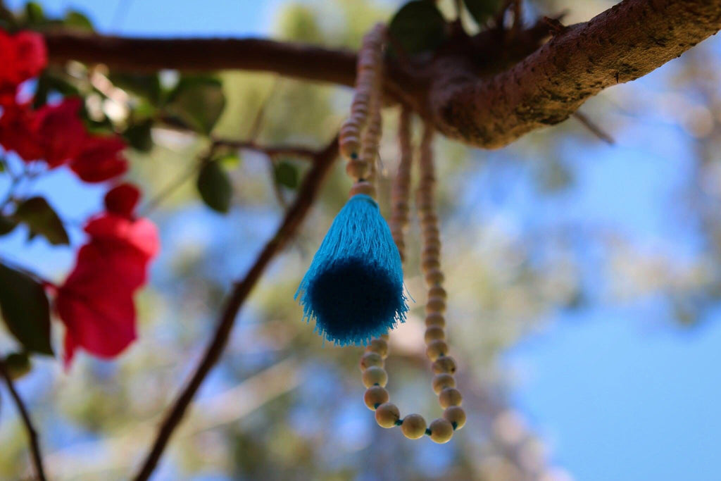 IN THE NOW Howlite Mala with turqouise silk tassel and silver Tree of life