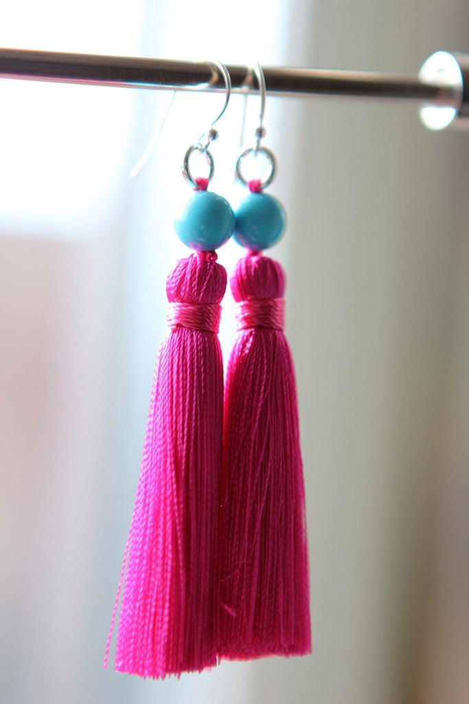 Silver earrings Turquonite and Hot Pink silk tassel