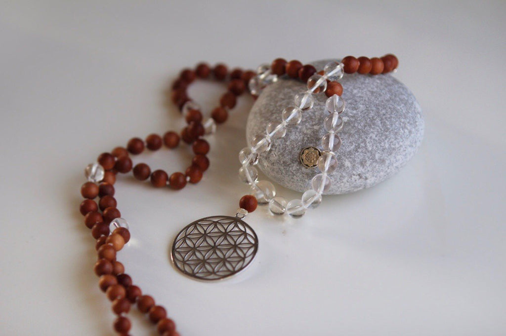 GAYATRI MALA in Sandelwood & Quartz and silver Flower of life and silver Lotus Mandala