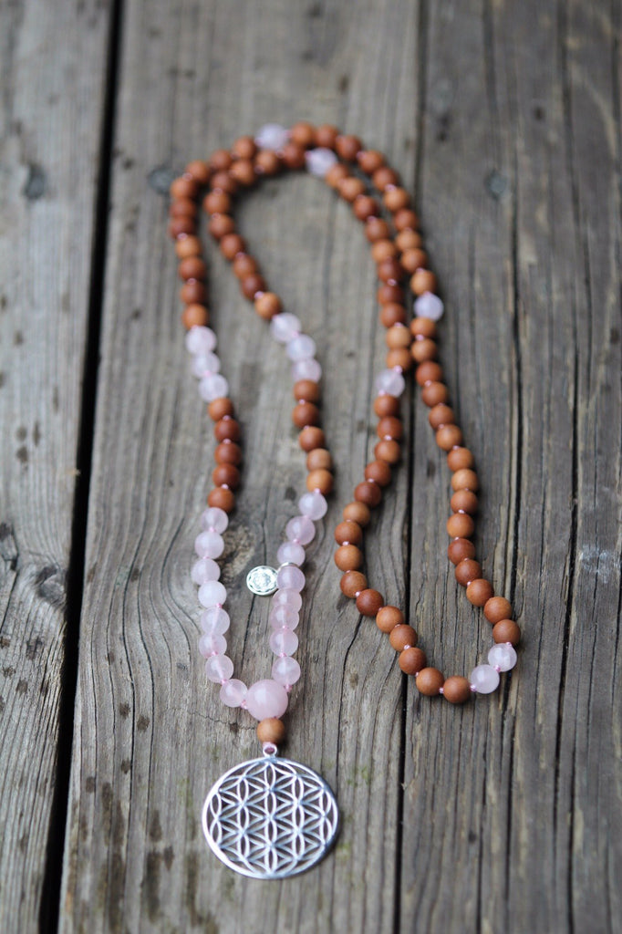 Premium handknotted mala in Rose Quartz, Sandalwood and Flower of Life pendant in silver and silver Lotus Mandala
