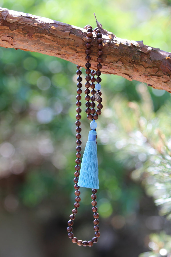 I FOLLOW MY BLISS Mala - Ahimsa Wood and Aquamarine