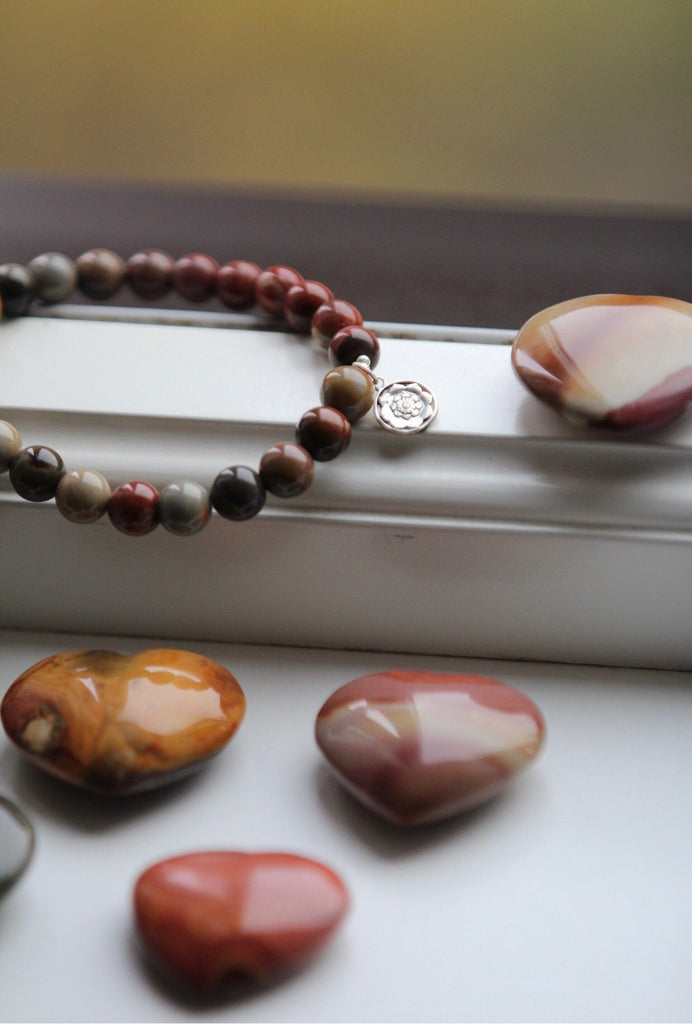 ATLANTIS Jasper with Lotusmandala silver charm