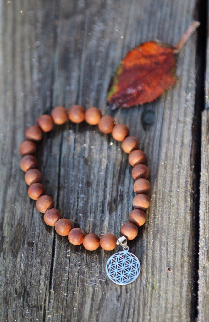 SAT NAM mala bracelet Mala in fragrant sandalwood with silver charm Flower of Life