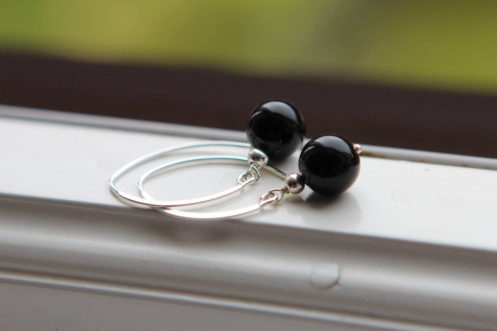 Silver earrings with Black Agate